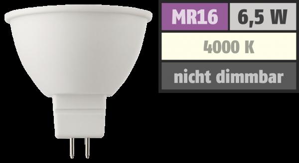 LED Strahler MR16, 6,5W, 430lm, 4000K, neutralweiß