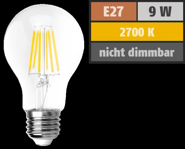 LED Filament Glühlampe McShine Filed, E27, 9W, 1055 lm, warmweiß, klar