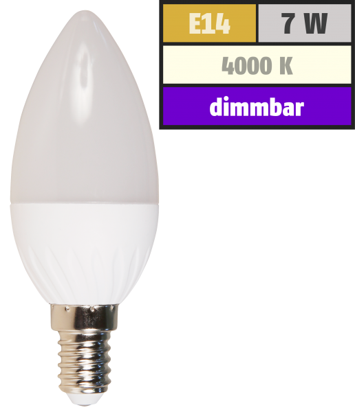 LED Kerzenlampe McShine, E14, 7W, 520lm, 160°, 4000K, neutralweiß, dimmbar