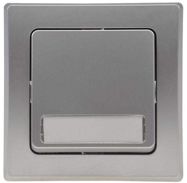 DELPHI Taster mit Namensschild 0-250V~/ 10A, inkl. Rahmen, UP, silber