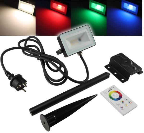 """LED-Fluter SlimLine """"CTF-SL10W RGB-W"""" IP44, 230V, RGB mit Fernbedienung"""