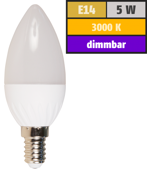 LED Kerzenlampe McShine, E14, 5W, 350lm, 160°, 3000K, warmweiß, dimmbar