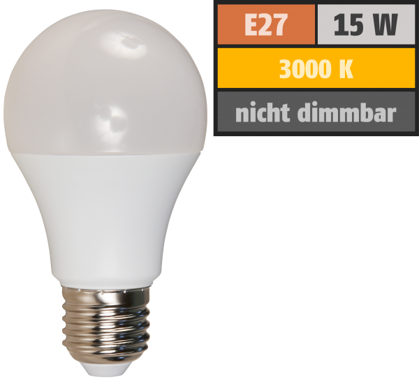 LED Glühlampe McShine, E27, 15W, 1250lm, 220°, 3000K, warmweiß, Ø60x118mm