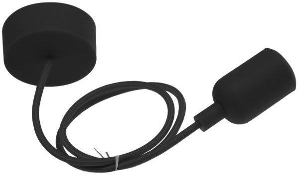 "E27 Lampenaufhängung ""Silikon"" schwarz 230V, E27 Fassung, 80cm Textilkabel"