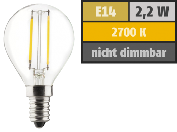 LED Filament Tropfenlampe, E14, 2,2W, 250lm, 2700K, warmweiß