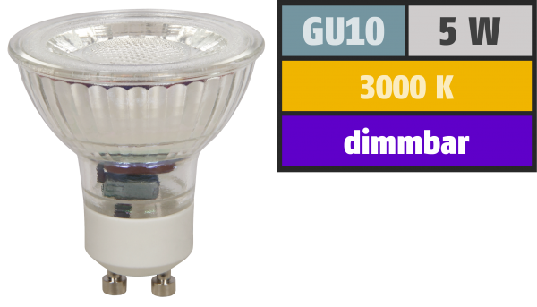 LED-Strahler McShine MCOB GU10, 5W, 350 lm, warmweiß, dimmbar