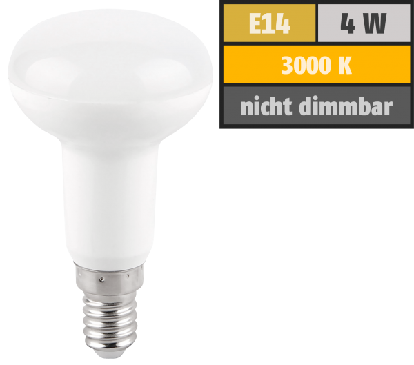 LED-Reflektorstrahler McShine, E14, R39, 4W, 320lm, 120°, 3000K, warmweiß