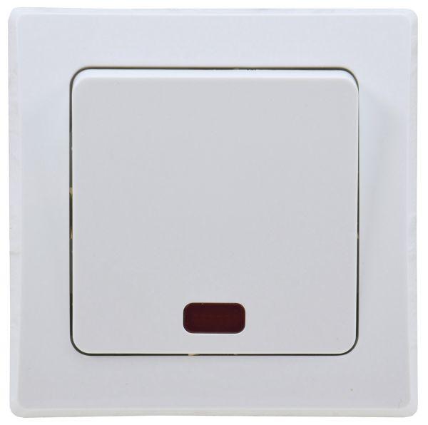 DELPHI Kontroll-Schalter mit Lämpchen 250V~/ 10A, inkl. Rahmen, UP, weiß