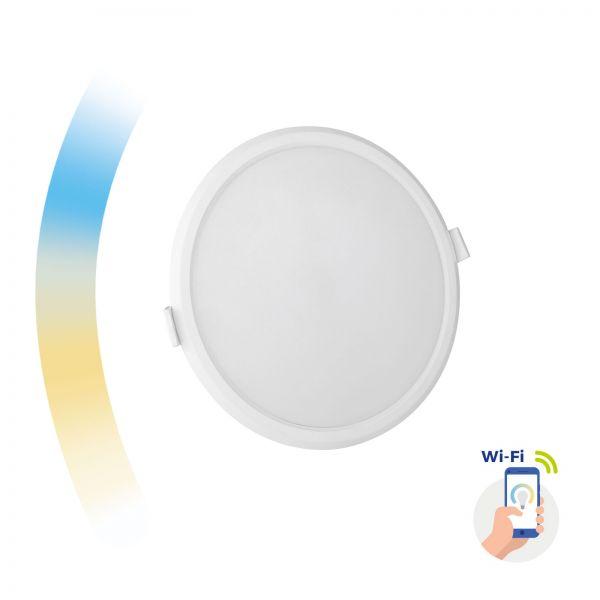 Smartes LED Einbaupanel rund 12W 1150lm CCT + dimmbar via WiFi Alexa Google steuerbar