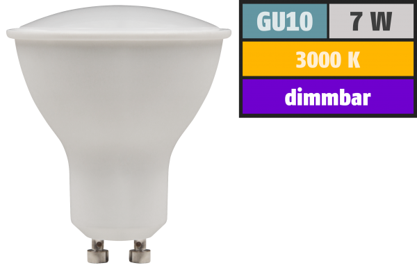 LED-Strahler McShine PV-70-dim GU10, 7W, 520lm, 110°, 3000K, warmweiß, dimmbar