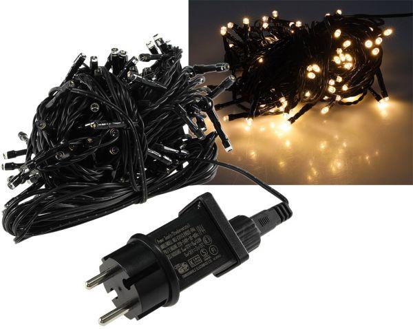 """LED Aussen-Lichterkette """"CT-ALK100"""" 10m warmweiß, Kabel schwarz, IP44, 100 LEDs"""