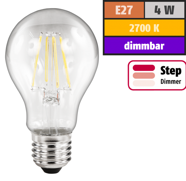 LED Filament Glühlampe McShine Filed, E27, 4W, 440lm, warmweiß, step-dimmbar