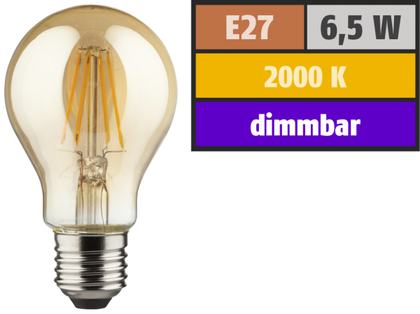 LED Filament Glühlampe, E27, 6,5W, 400lm, 2000K, warmweiß, dimmbar, gold