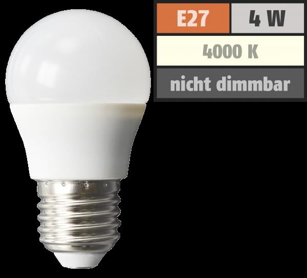 LED Tropfenlampe McShine, E27, 4W, 320lm, 160°, 4000K, neutralweiß, Ø45x78mm
