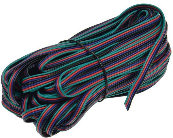 RGB LED-Stripes Anschlusskabel 20m-Ring, 4-adrig rot-grün-blau-schwarz