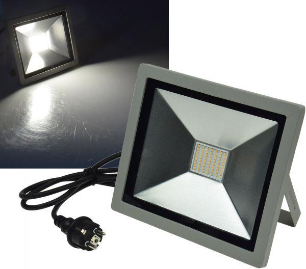 "LED-Fluter SlimLine ""CTF-SLT 50"" silber 50W, 3200lm, 4000K, neutralweiß, IP44"