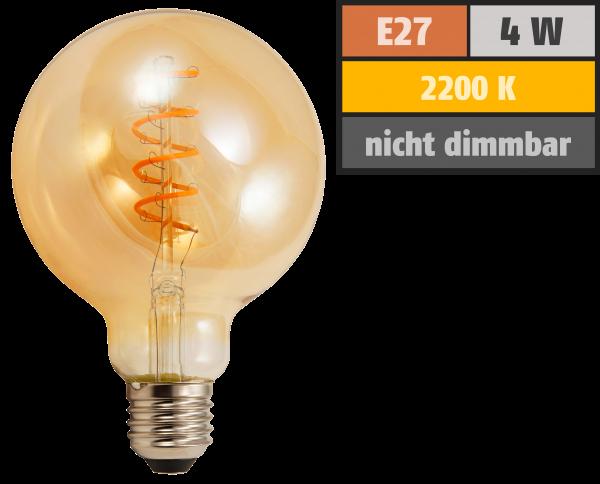 LED Filament Globelampe McShine Retro E27, 4W, 280lm, warmweiß, goldenes Glas