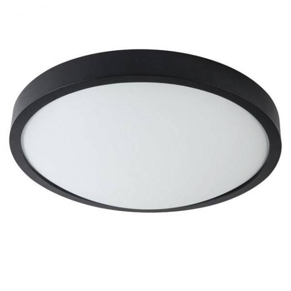 Schwarze Echtholz Deckenleuchte mit matter Echtglas Abdeckung 900 Lumen und 18 Watt Warmweiß