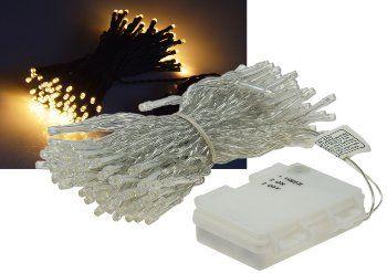 "LED Batterie-Lichterkette ""CT-TK100"" 10m warmweiß, IP44, 100 LEDs, mit 6Std.Timer"