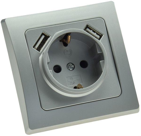 DELPHI Schutzkontakt-Steckdose, silber 250V~/ 16A, UP, 2x USB Buchse je 5V/1A