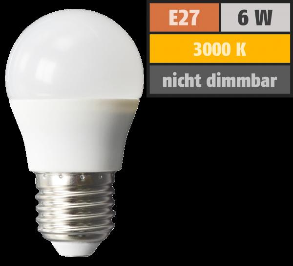 LED Tropfenlampe McShine, E27, 6W, 480lm, 160°, 3000K, warmweiß, Ø45x78mm