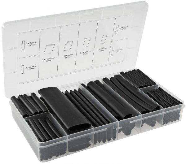 Schrumpfschlauch-Sortiment, 142-teilig Plastikbox, klebend, Ratio 3:1, schwarz