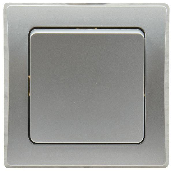 DELPHI Taster 0-250V~/ 10A, inkl. Rahmen, UP, silber