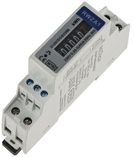 Wechselstromzähler für DIN Trägerschiene 1-phasig 5A, 161-300V, 1TE, analog RZW
