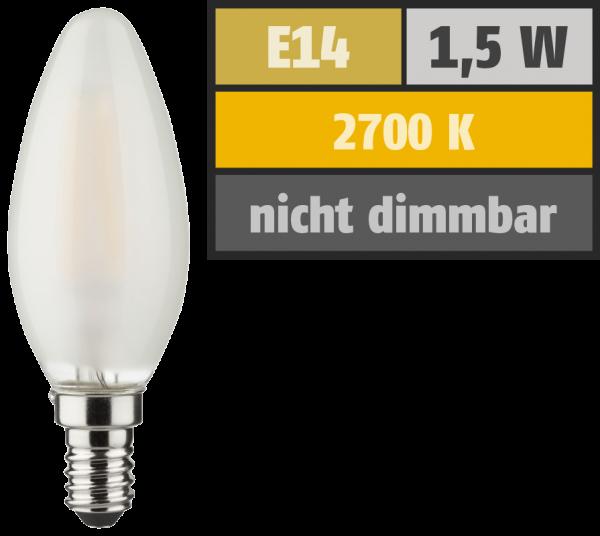 LED Filament Kerzenlampe, E14, 1,5W, 150lm, 2700K, warmweiß, matt