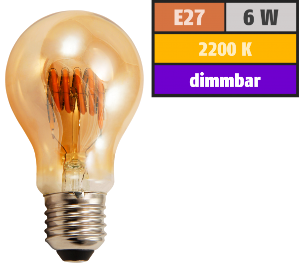 LED Filament Glühlampe McShine Retro E27, 6W, 420lm, goldenes Glas, dimmbar