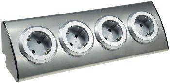 4-fach Steckdosenblock Edelstahl 90° für Eck- & Aufbaumontage