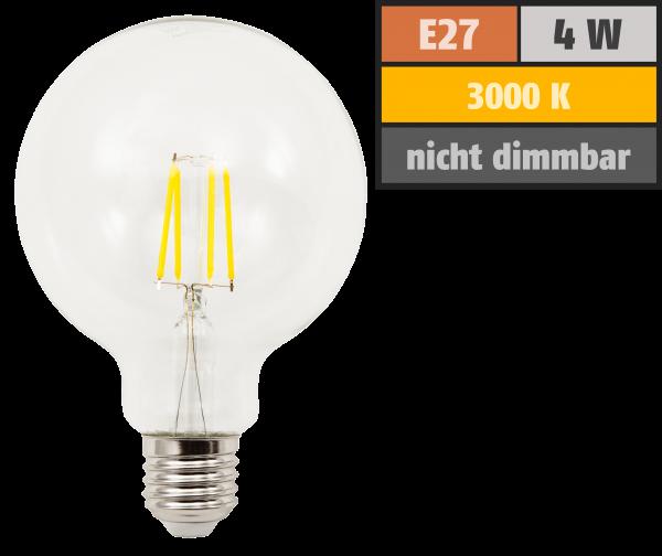 LED Filament Globelampe McShine Filed E27, 4W, 470lm, warmweiß, klar