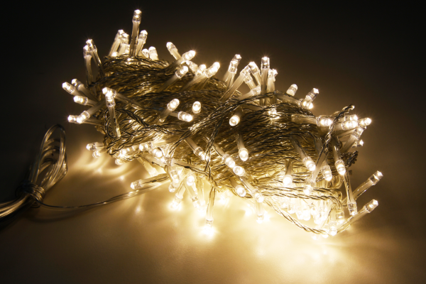 LED Lichterkette McShine, 200 LEDs, 20m + 2m Zuleitung, warmweiß, IP44