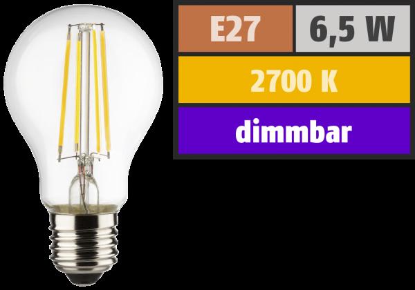 LED Filament Glühlampe, E27, 6,5W, 810lm, 2700K, warmweiß, dimmbar