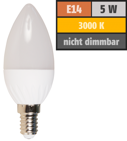 LED-Kerzenlampe McShine Brill95 E14, 5W, 400lm, 160°, warmweiß, Ra >95, 37x98mm