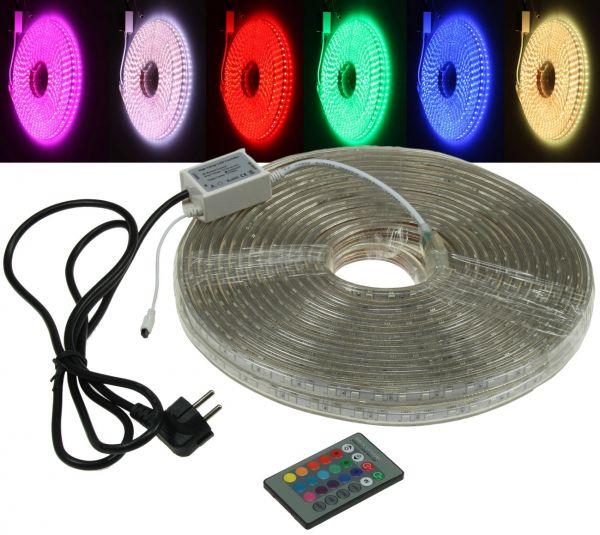 """LED-Stripe """"RGB-Pro"""" 230V, 20 Meter IP44, inkl. IR-Fernbedienung"""