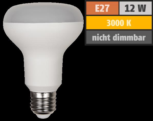 LED-Reflektorstrahler McShine, E27, R80, 12W, 1050lm, 120°, 3000K, warmweiß