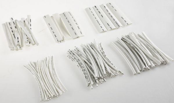 Schrumpfschlauch-Sortiment, 100-teilig in Sortimentstüte, weiß