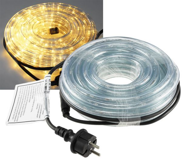 LED-Lichtschlauch 10m, 13mm Ø, 240 LEDs 230V, 15W, IP44, warmweiß, 3300K