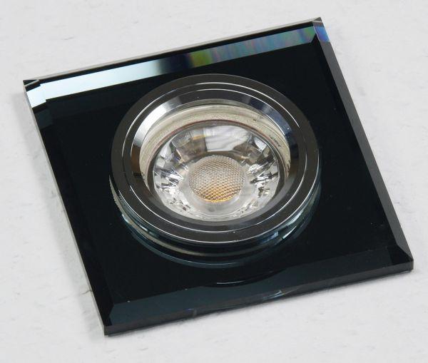 """Decken-Einbaustrahler """"Crystal Q90"""" starr, 90x90mm, für 50mm Lampen, schwarz"""