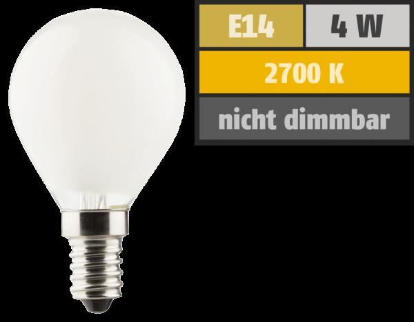 LED Filament Tropfenlampe, E14, 4W, 470lm, 2700K, warmweiß, matt, 3er Set