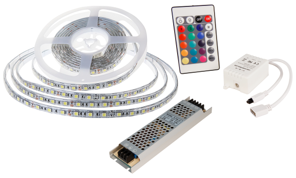 LED-Stripe SET 60LED/m, RGB, 10,8W/m, RGB, 5m, IP65, Cotroller, 100W Trafo