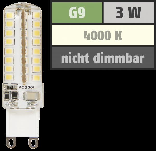 LED-Stiftsockellampe McShine Silicia, G9, 3W, 320 lm, neutralweiß