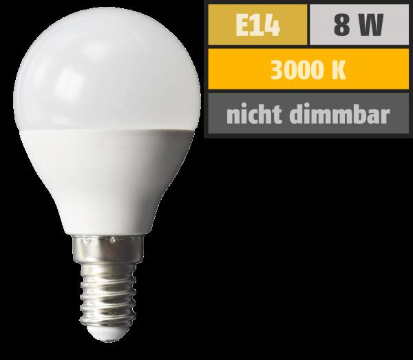 LED Tropfenlampe McShine, E14, 8W, 600lm, 160°, 3000K, warmweiß, Ø45x88mm