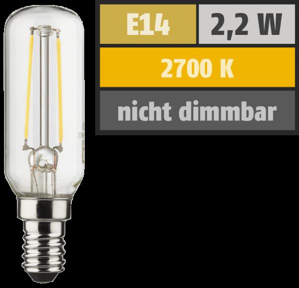 LED Filament Röhrenform, E14 / T25, 2,2W, 250lm, 2700K, warmweiß