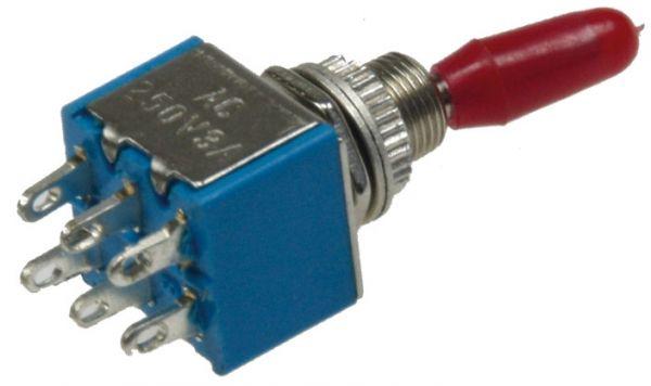 Miniatur Kippschalter 2x EIN/EIN 12V/3A, Lötösen, 6-Pin, Gewinde Ø 6mm