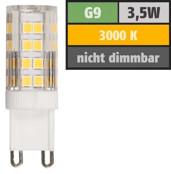 LED-Stiftsockellampe McShine, G9, 3,5W, 300lm, 3000K, warmweiß