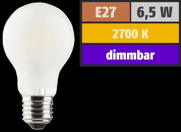 LED Filament Glühlampe, E27, 6,5W, 810lm, 2700K, warmweiß, dimmbar, matt