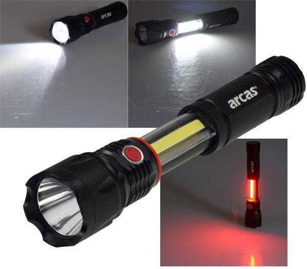 LED-Taschenlampe ARCAS 3-in1, 3W, 350lm Taschenlampe, Arbeitsleuchte, Pannenwarn