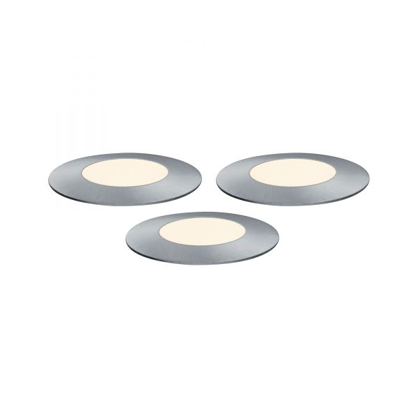 Paulmann Outdoor Plug & Shine Floor Mini Erg. Set IP65 3000K 3x2,5W 24V 55mm Silber